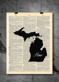 Michigan State Art Print | Home - Local Vintage Dictionary Wall Art Print - Authentic Artwork Prints