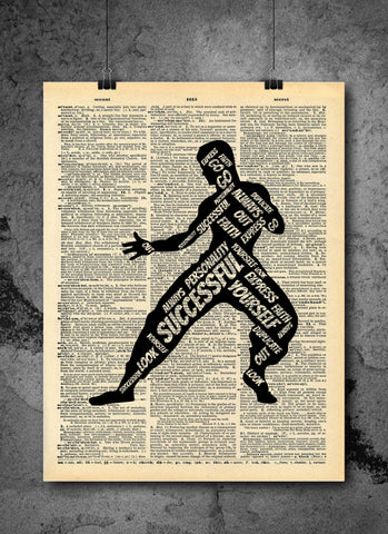 Bruce Lee | Successful Quote - Vintage Dictionary Wall Art Print - Always Be Yourself