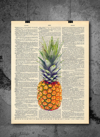 Pineapple Color Art on Vintage Dictionary Wall Art Print - Pineapple Fruit Wall Art