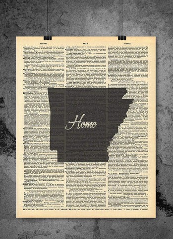 Arkansas State Art Print | Home - Local Vintage Dictionary Wall Art Print - Authentic Artwork Prints