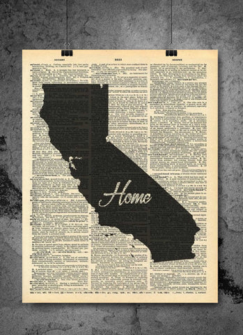 California State Art Print | Home - Local Vintage Dictionary Wall Art Print - Authentic Artwork Prints