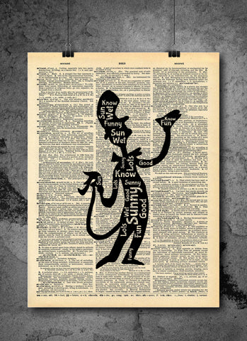 Dr. Seuss Quote Cat in the Hat Vintage Art - Wet Sunny Funny Authentic Upcycled Dictionary Art Print - Home or Office Decor