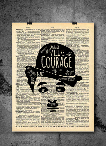 Charlie Chaplin Failure Unimportant Quote Vintage Art - Authentic Upcycled Dictionary Art Print