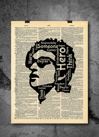 Bob Dylan | Hero Quote - Vintage Dictionary Wall Art Print - Freedom and Responsibility Active