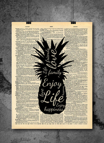 Pineapple Friends Family Love Quote Art on Vintage Dictionary Wall Art Print - Pineapple Fruit Wall Art