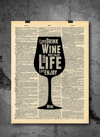 Wine Love Enjoy Life Art on Vintage Dictionary Wall Art Print - Wine Glass Wall Art - Upcycled Dictionary Page
