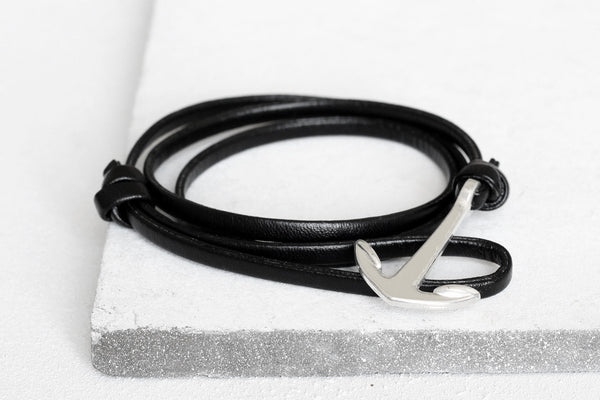 KOTBA Black Leather & Silver Anchor Bracelet [LIMITED]