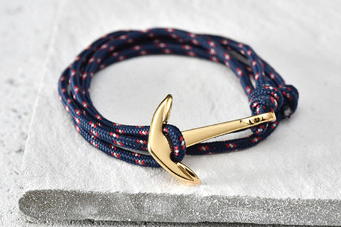 KOTBA Blue and Red Lace-up & Gold Anchor Bracelet