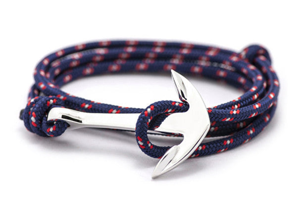 KOTBA Blue and Red Lace-up & Silver Anchor Bracelet