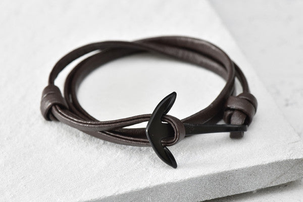 KOTBA Brown Leather & Black Anchor Bracelet