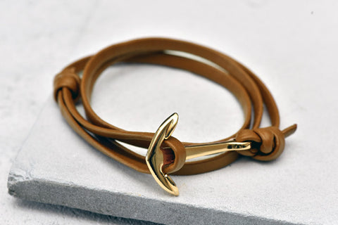KOTBA Tan Leather & Gold Anchor Bracelet