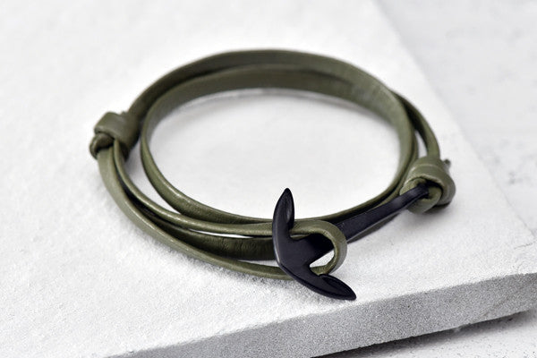 KOTBA Army Green Leather & Black Anchor Bracelet