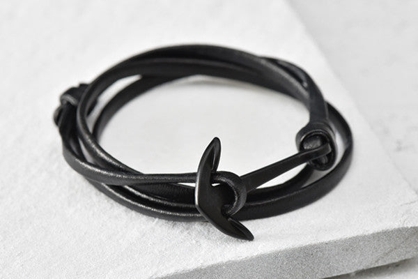 KOTBA Black Leather & Black Anchor Bracelet