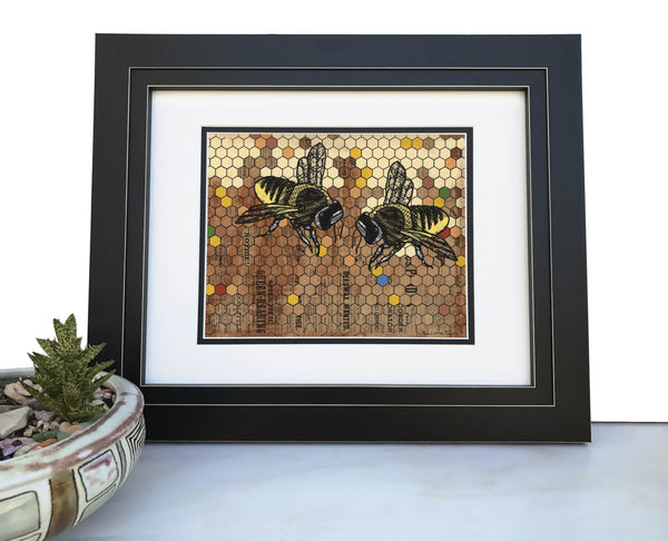 Honeybees and Honeycomb Art Print, Paper Prints - Two Little Fruits
