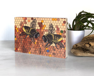 Honeybees 4x6 Wood Art block-Art On Wood-Two Little Fruits