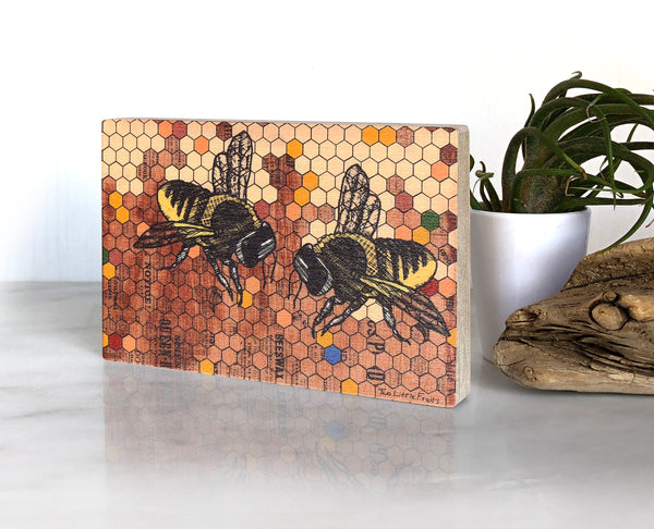 Honeybees Small Wood Shelf Art, Art On Wood - Two Little Fruits