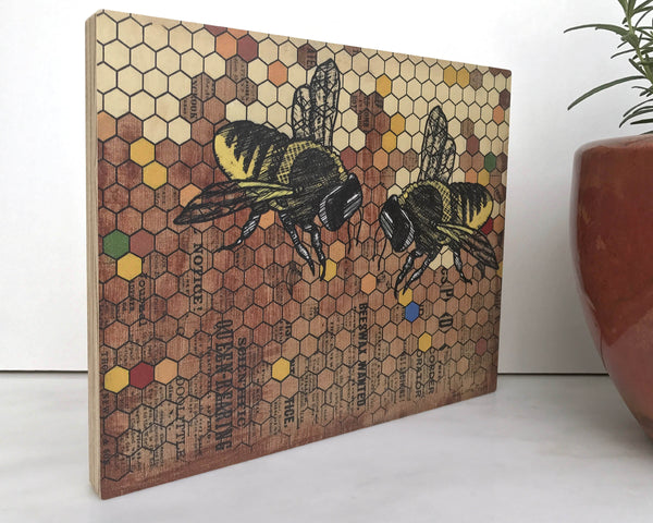 Rustic Honeybee 8x10 Wall Art on Wood, Art On Wood - Two Little Fruits