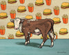 Angus Cow and Cheesburger Art Print