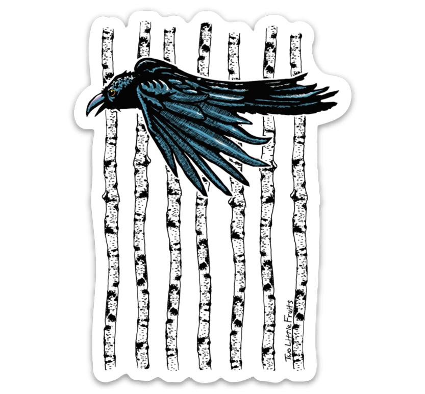 Black Crow Aspen Tree Large Die Cut Sticker, Sticker - Two Little Fruits