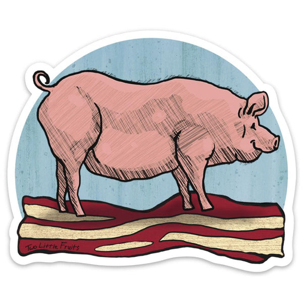 Pig and Bacon Large Die Cut Sticker, Sticker - Two Little Fruits