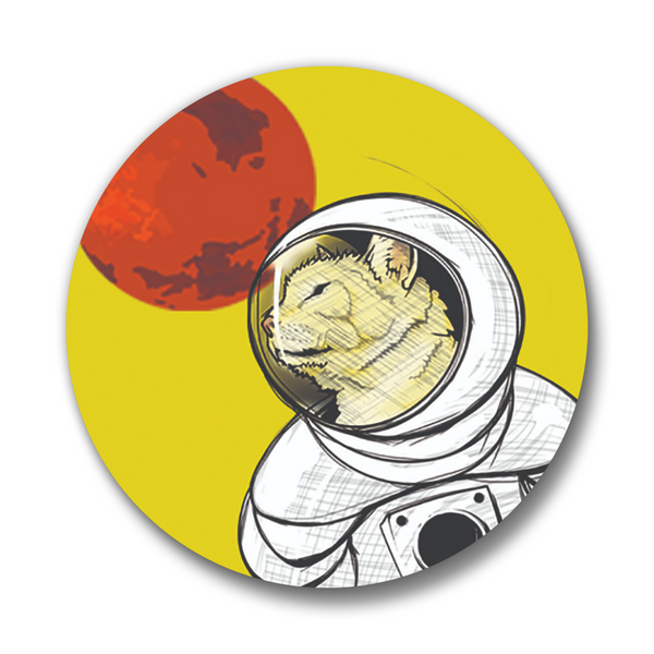 Matte Space Curiosity Cat Button Pin, Button Pins - Two Little Fruits