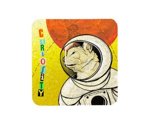 Astronaut Cat Cork Coaster-Coasters-Two Little Fruits