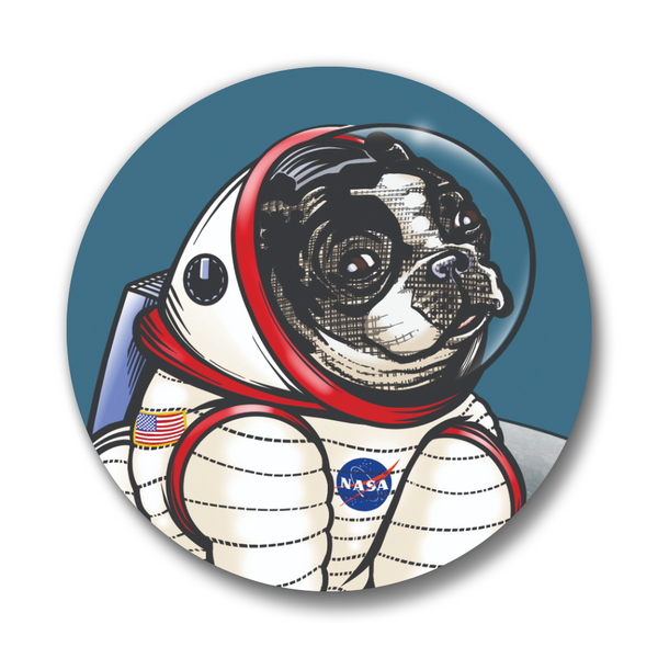 Boston Terrier Space Dog Matte Button Pin, Button Pins - Two Little Fruits
