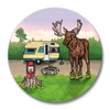 Camping Moose In Boots Magnetic Bottle Opener