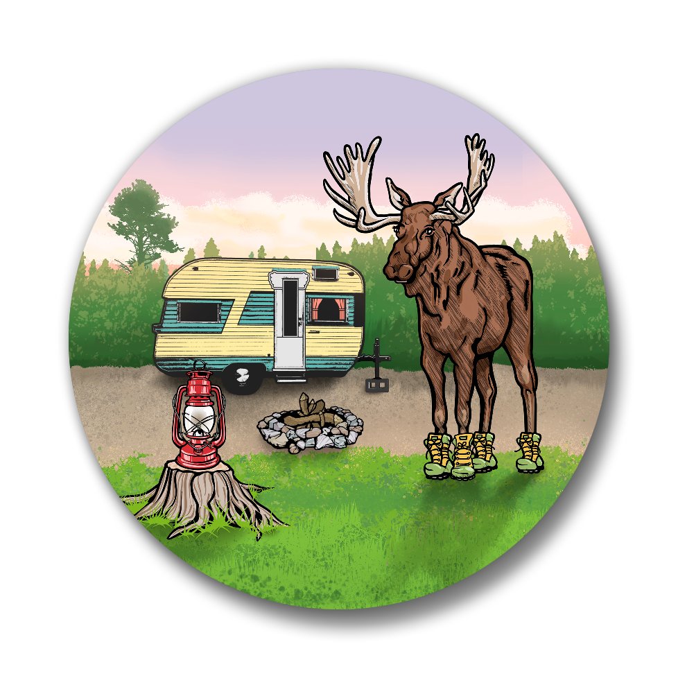 Moose In Boots Camping Button Pin