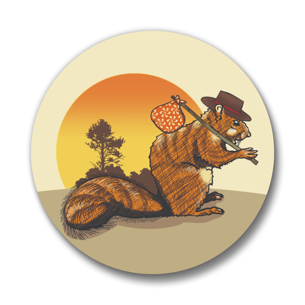 Hobo Squirrel Button Pin, Button Pins - Two Little Fruits