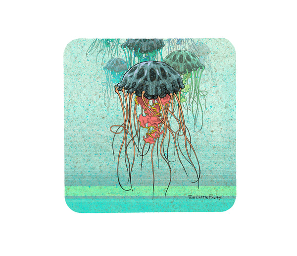 Jellyfish Cork Drink Coaster, Coasters - Two Little Fruits