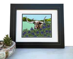 Longhorn Steer Art Print-Paper Prints-Two Little Fruits