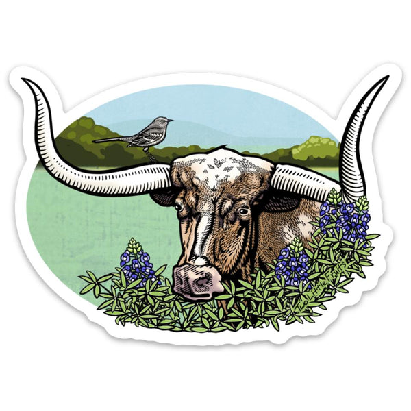 Texas Longhorn Steer Bluebonnet Large Die Cut Sticker, Sticker - Two Little Fruits