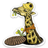 Giraffe Construction Worker Manhole Sticker, Sticker - Two Little Fruits