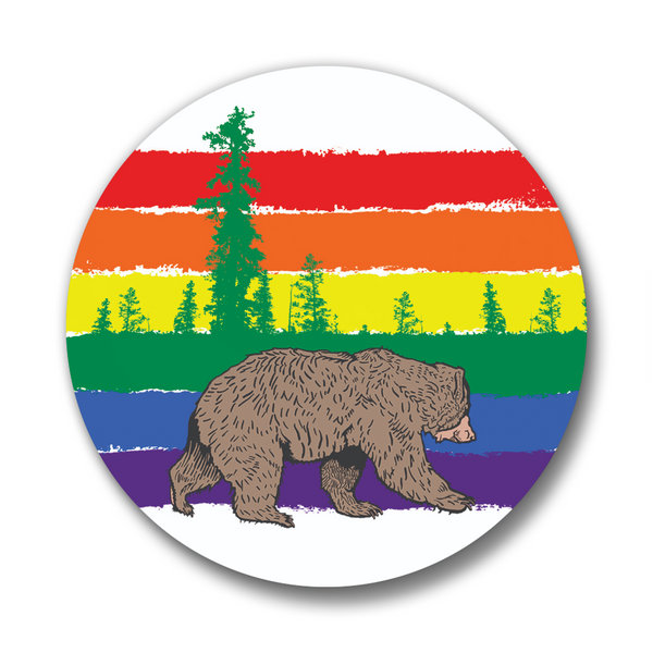 Forest Rainbow Bear Button Pin