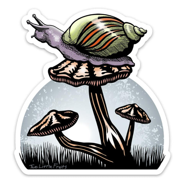 Snail and Mushroom Large Die Cut Sticker, Sticker - Two Little Fruits
