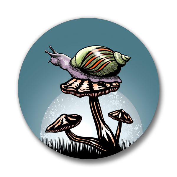 Snail and Mushroom Matte Button Pin, Button Pins - Two Little Fruits