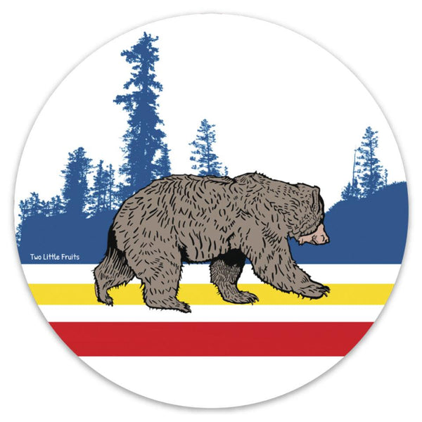 Woodland Sport Bear Round Sticker, Sticker - Two Little Fruits