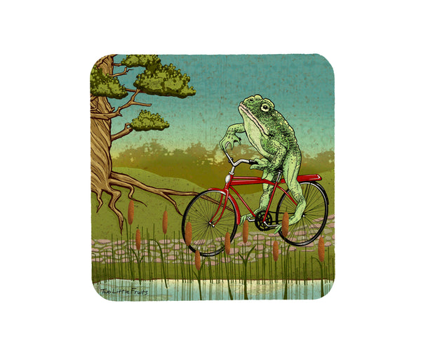 Frog On a Bike Cork Coaster, Coasters - Two Little Fruits