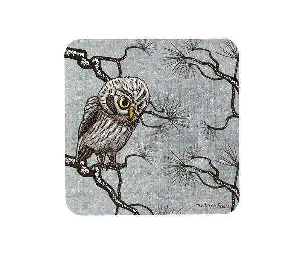 Winter Owl Cork Coaster, Coasters - Two Little Fruits
