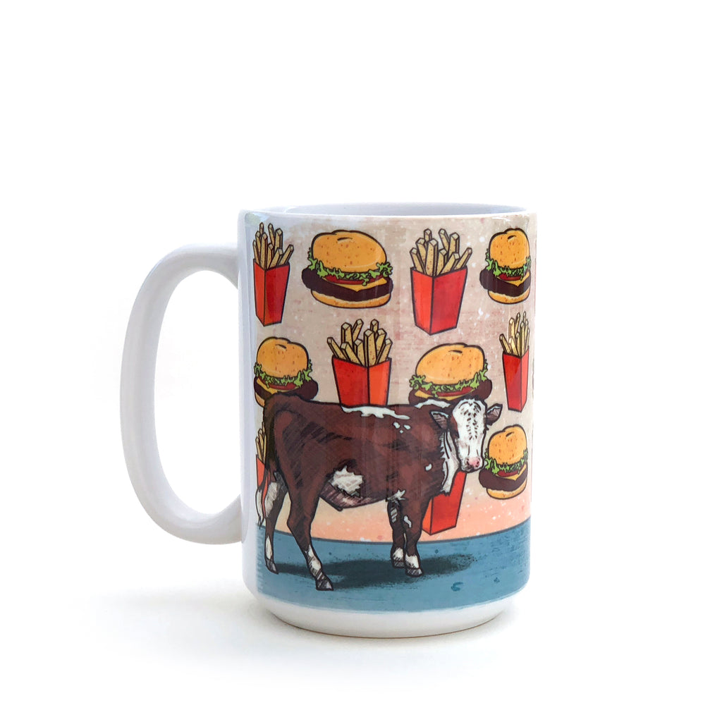 Cow and Cheeseburger 15 Oz. Coffee Mug, Mug - Two Little Fruits