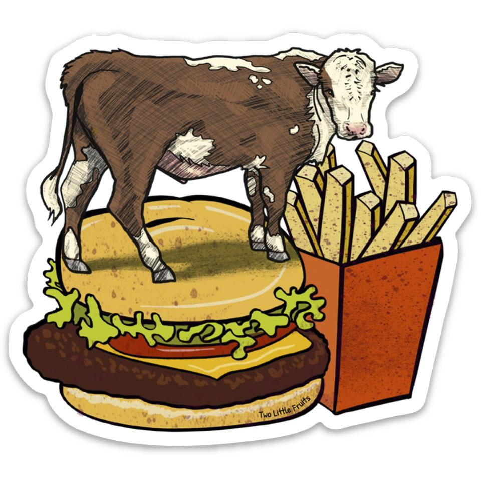 Cow and Cheeseburger Die Cut Sticker, Sticker - Two Little Fruits