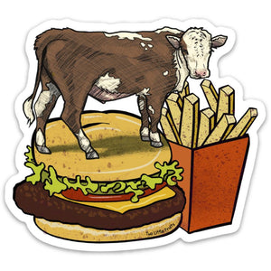 Cow and Cheeseburger Sticker-Sticker-Two Little Fruits