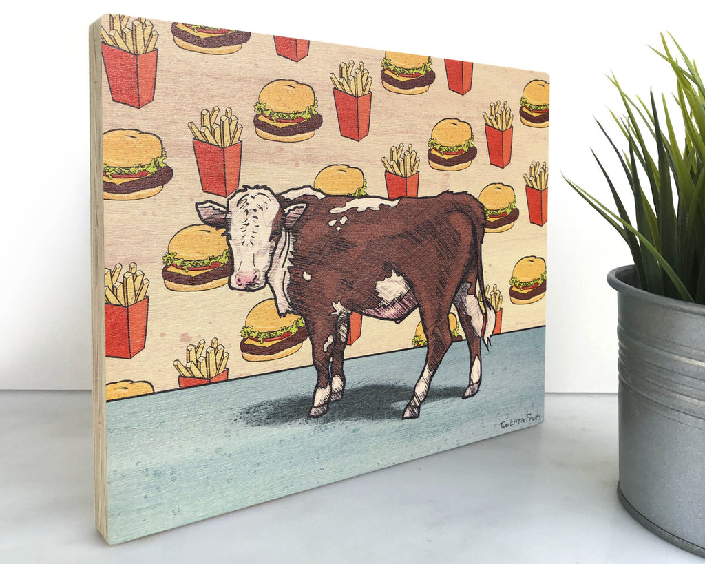 Angus and Cheeseburger 8x10 Wall Art on Wood, Art On Wood - Two Little Fruits