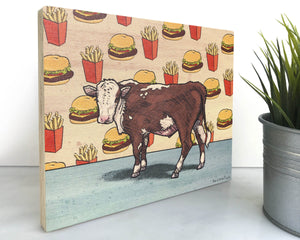 Cow 8x10 Wood Art Block-Art On Wood-Two Little Fruits
