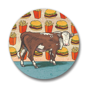 Cow & Cheeseburger Button Pin-Button Pins-Two Little Fruits