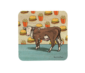 Cow and Cheeseburger Cork Coaster-Coasters-Two Little Fruits