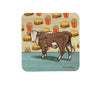 Cow and Cheeseburger Cork Drink Coaster, Coasters - Two Little Fruits