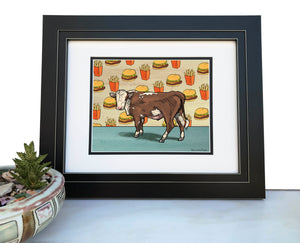 Cow And Cheeseburger Art Print-Paper Prints-Two Little Fruits