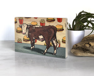 Cow and Cheeseburger 4x6 Wood Art Block-Art On Wood-Two Little Fruits